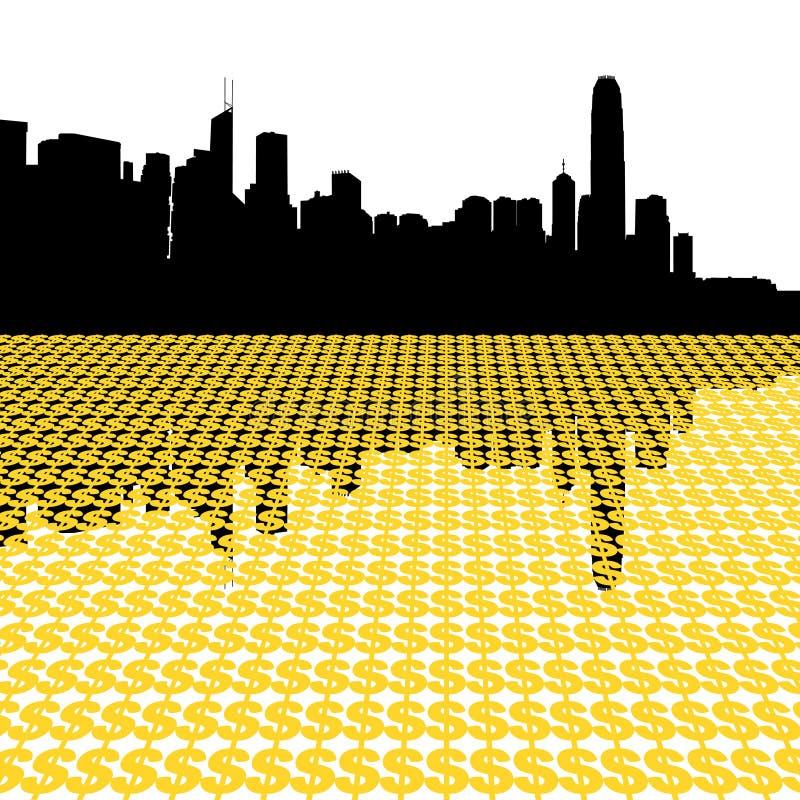 горизонт Hong Kong доллара иллюстрация вектора