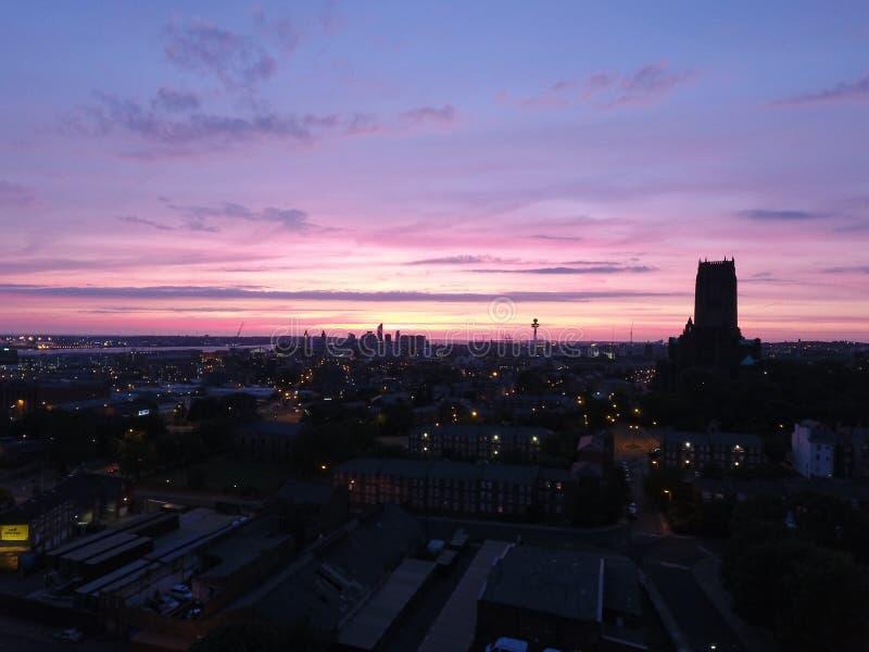Горизонт Liverpools изумительный иконический стоковые фотографии rf