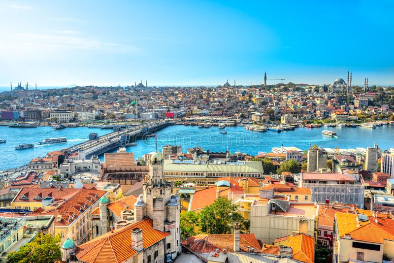 Горизонт Sultanahmet, Стамбул, Турция стоковые фотографии rf