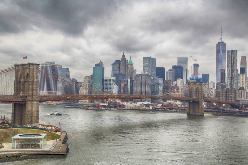 горизонт york brooklyn моста новый стоковая фотография