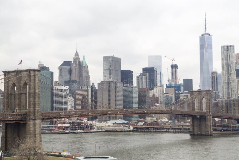 горизонт york brooklyn моста новый стоковые изображения rf