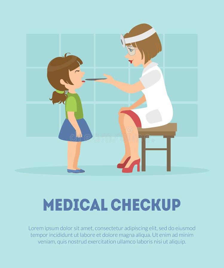 Горло девушек женского Otolaryngologist рассматривая в клинике, докторе Consulting Пациенте в медицинском векторе офиса бесплатная иллюстрация