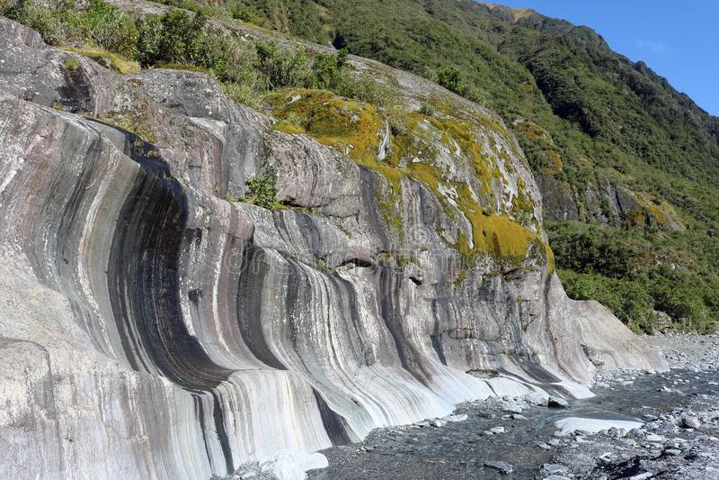 Горная порода Waiho River Valley Новая Зеландия стоковое фото
