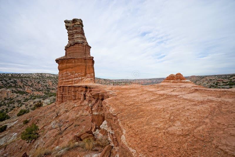 Горная порода маяка в каньоне Техасе duro palo стоковое фото
