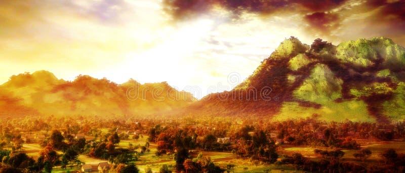 горное село иллюстрация штока