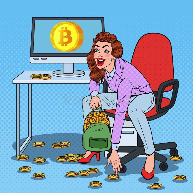 Горнорабочая женщины искусства шипучки положила Bitcoins в рюкзак Секретная технология дела валюты деньги фактически бесплатная иллюстрация