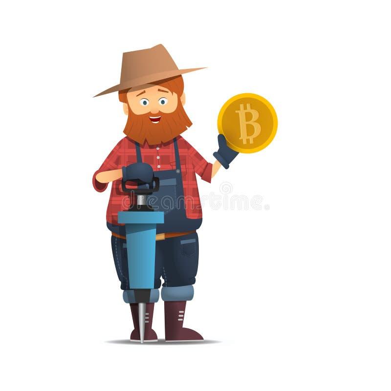 Горнорабочая с jackhammer Персонаж из мультфильма при рему держа bitcoin золота золотой монетки иллюстрация вектора