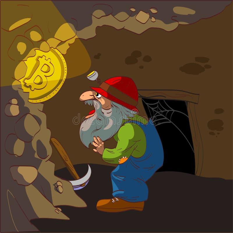 Горнорабочая Bitcoin иллюстрация штока