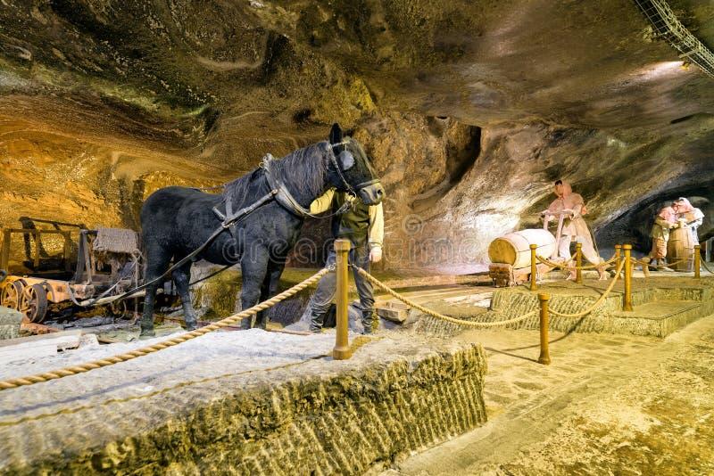 Горнорабочие на солевом руднике WIeliczka, Польше стоковые изображения rf