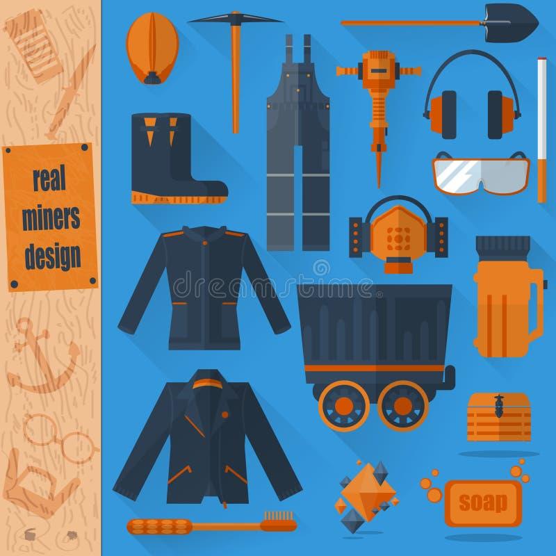 Горнорабочие установленные на голубую предпосылку стоковая фотография