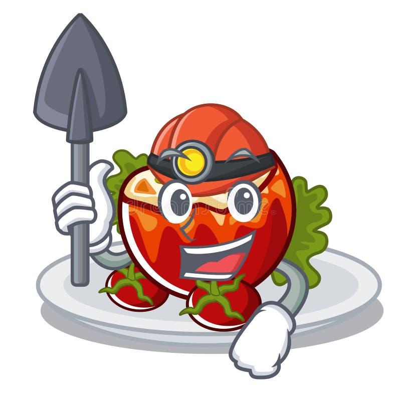 Горнорабочий заполнила томаты на доске мультфильма иллюстрация вектора