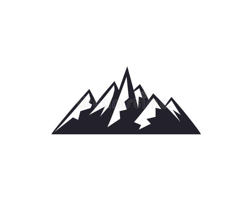 Горные пики, собрание значка элементов дизайна логотипа лыжи изолированное на белой предпосылке Авария иллюстрации вектора бесплатная иллюстрация