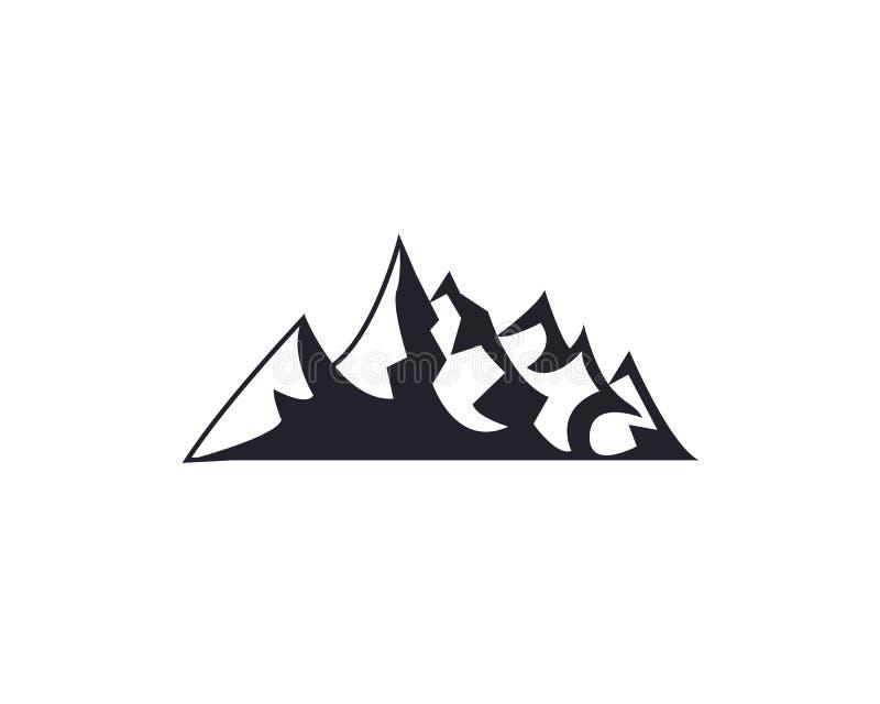 Горные пики, собрание значка элементов дизайна логотипа лыжи изолированное на белой предпосылке Авария иллюстрации вектора иллюстрация штока