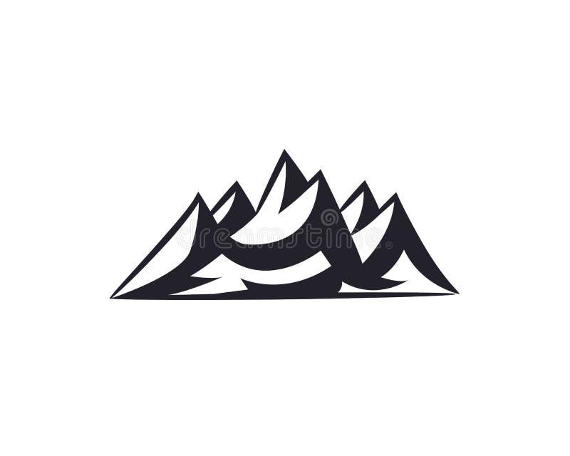 Горные пики, собрание значка элементов дизайна логотипа лыжи изолированное на белой предпосылке иллюстрация штока