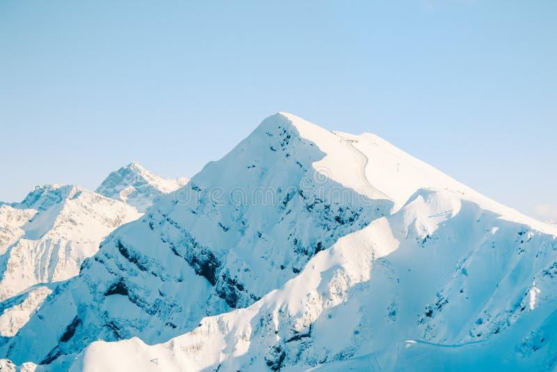 Горные пики Snowy Сочи стоковое фото