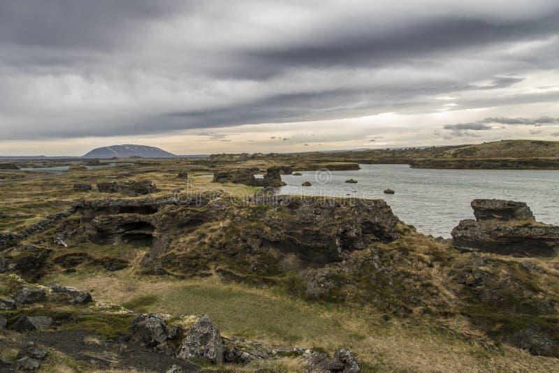 Горные породы Höfði стоковые фотографии rf