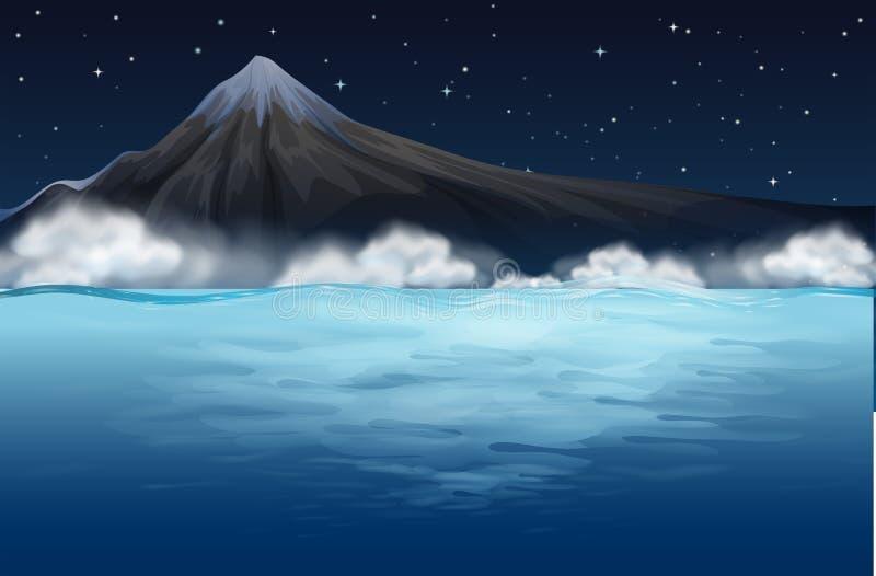 Горный вид от моря иллюстрация штока