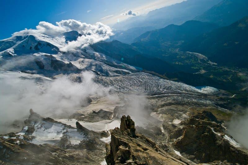 Горный вид Aiguille du Midi стоковая фотография