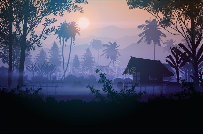 Горный горизонт природного леса Горные ландшафтыГорные обои Hut Sunrise и закат Векторный стиль Иллюстрация цветный фон иллюстрация штока