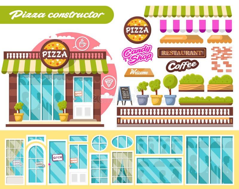 Города дизайна конструктора здания пиццы плоского общественные с внешними витринами магазина и различными элементами дизайна инте иллюстрация вектора