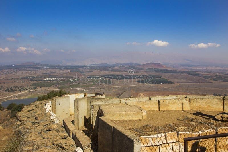 Городища на Голанских высотах и взгляде сверху держателя Bental стоковое изображение rf