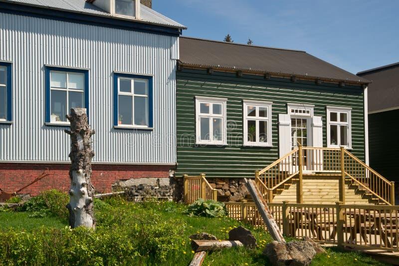 городок домов borgarnes icelandic деревянный стоковая фотография rf