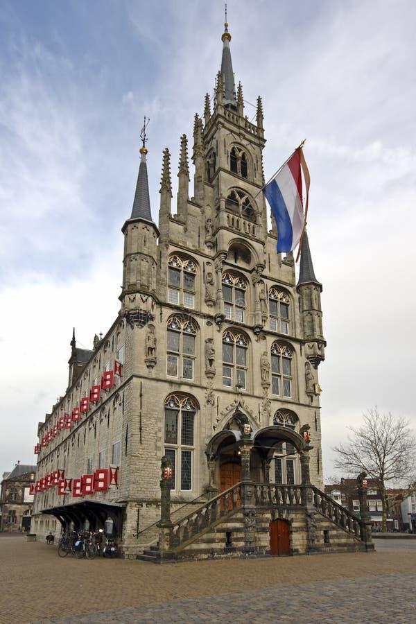 городок залы gouda средневековый нидерландский стоковое фото rf