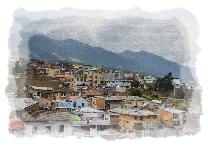 Городок Кито эквадора показывает дома и холмы в предпосылке Чертеж цифров стоковое изображение rf