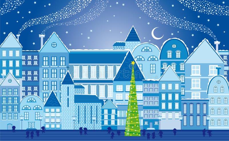 городок ночи рождества иллюстрация штока