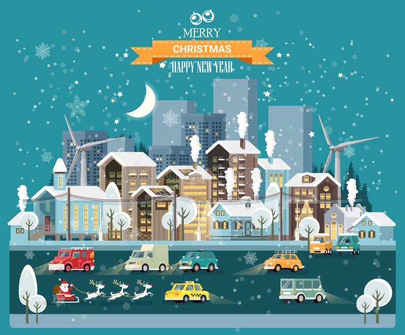 Городок ночи снега рождества с дорогами города, автомобилями и милыми домами С Новым Годом! шаблон вектора в современном плоском  иллюстрация штока
