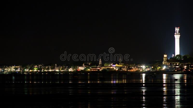 Городок провинции на ноче стоковые фотографии rf