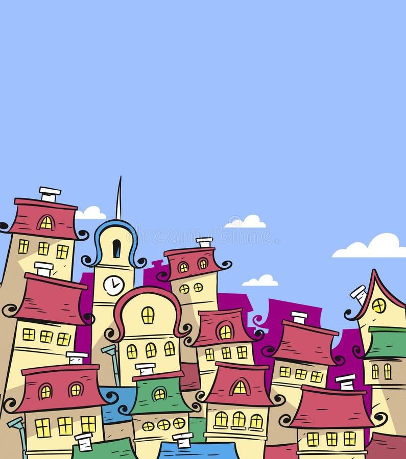 Городок сказки иллюстрация штока