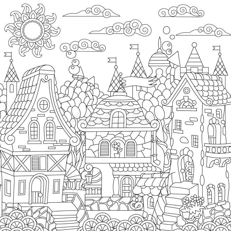 Городок сказки Zentangle иллюстрация штока