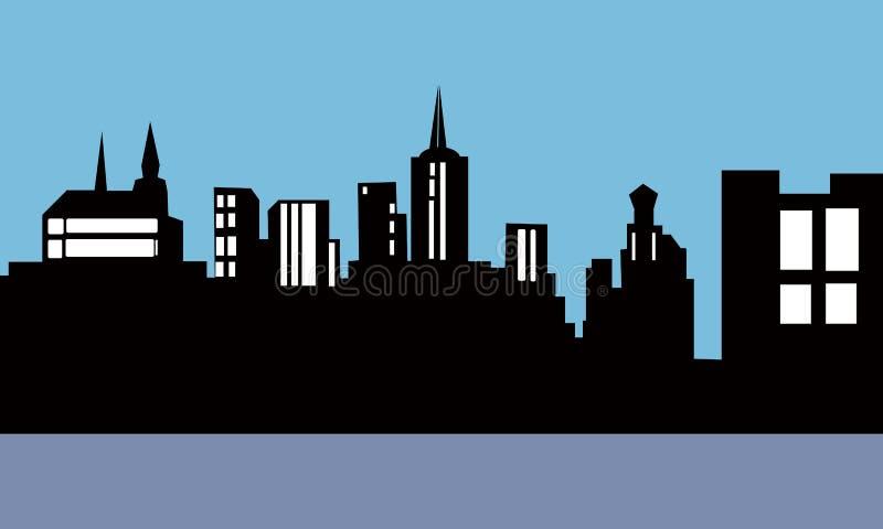 Городок темноты города иллюстрации стоковые изображения rf