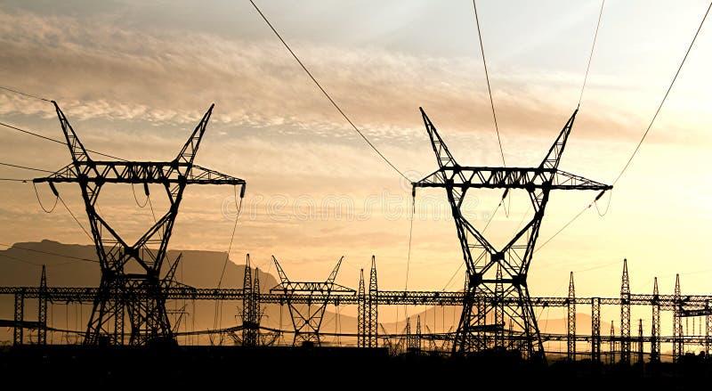 городок электричества плащи-накидк стоковое фото