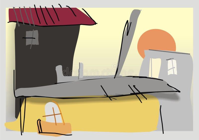городок иллюстрация штока