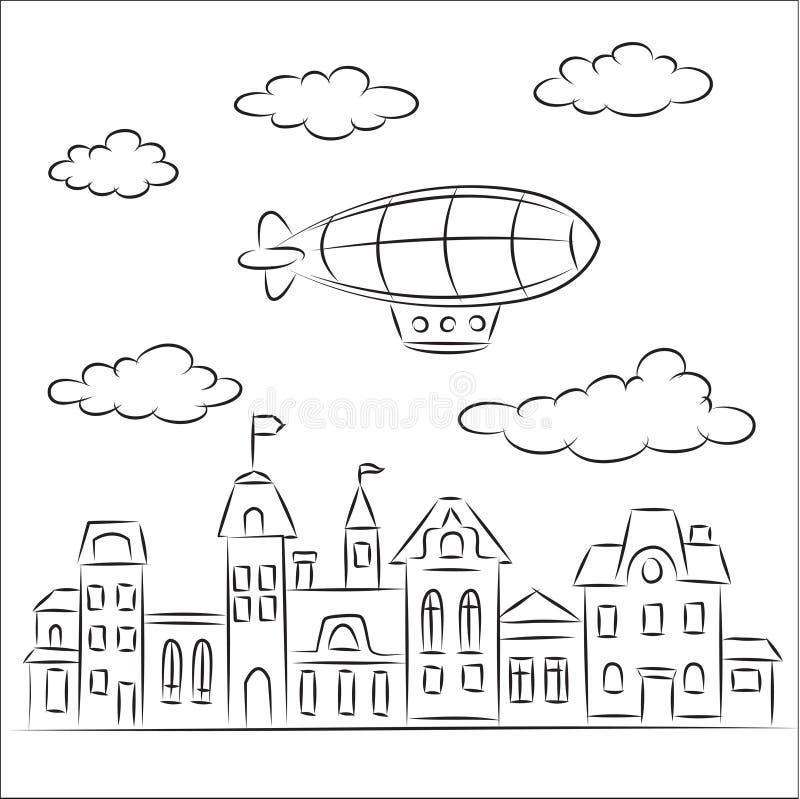 городок airship старый излишек иллюстрация вектора