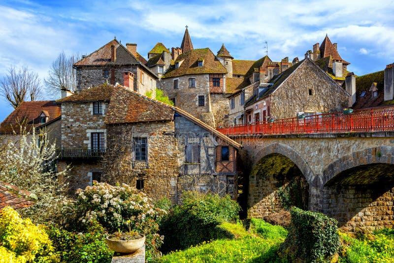 Городок Carennac старый, серия, Франция стоковая фотография rf