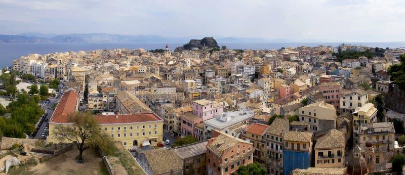 городок corfu старый стоковые изображения rf