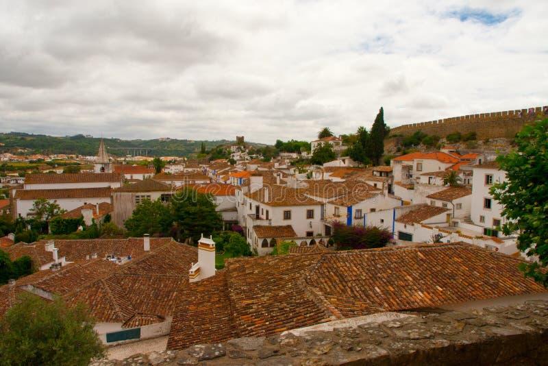 городок obidos старый стоковые изображения