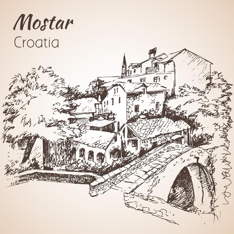 Городок Od Мостара, Хорватии Хорватия эскиз изолированный на белом b иллюстрация штока