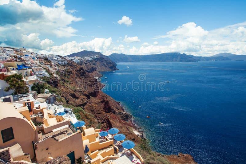 Городок Oia на острове Santorini, Греции стоковая фотография