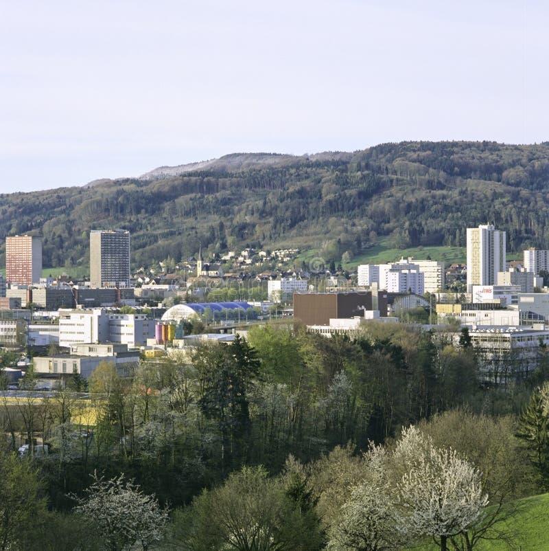 Городок Spreitenbach швейцарского кантона отчете о Ааргау новый стоковые изображения rf