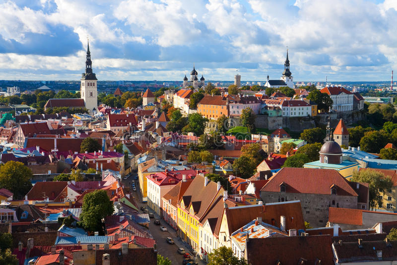 городок tallinn панорамы эстонии старый стоковое фото rf