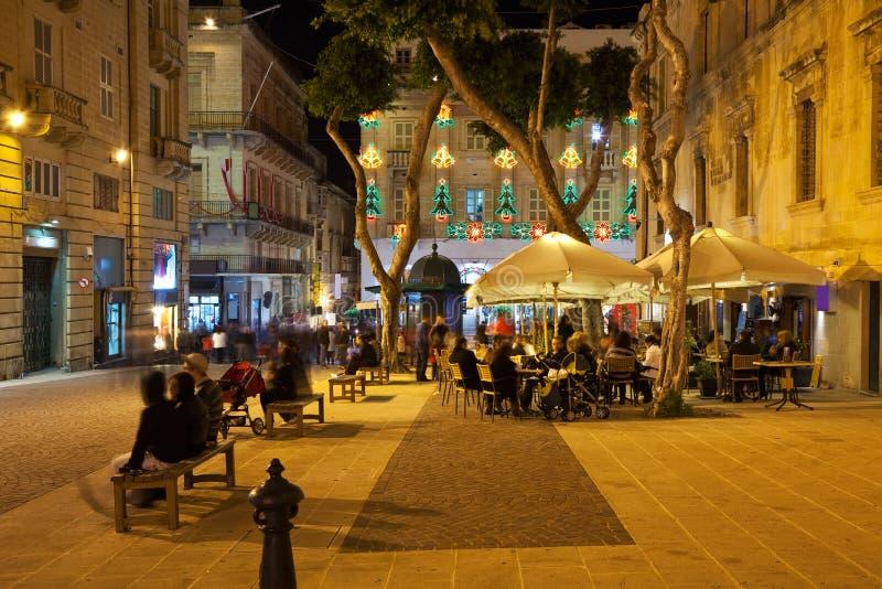 городок valletta жизни еженощный стоковое изображение