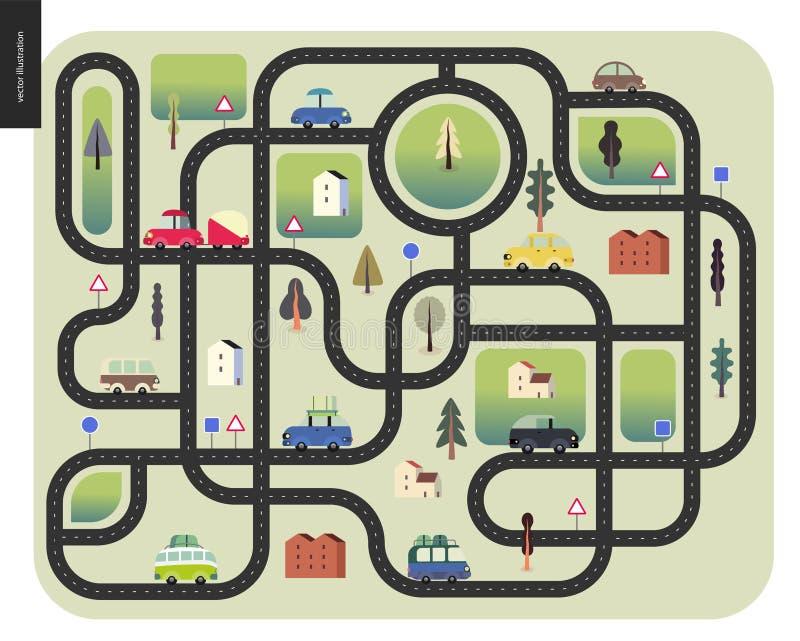 Городская дорожная карта иллюстрация штока