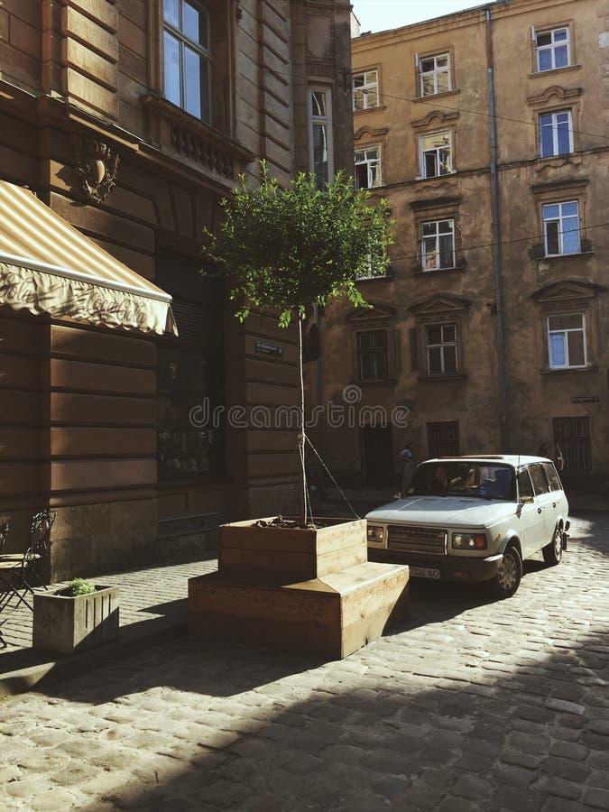 Городская жизнь древнего города Львова стоковая фотография