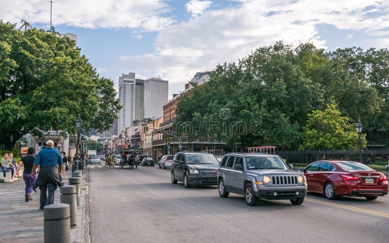Городская жизнь Нового Орлеана Улица Бурбона Туристский центр Луизианы стоковые фото