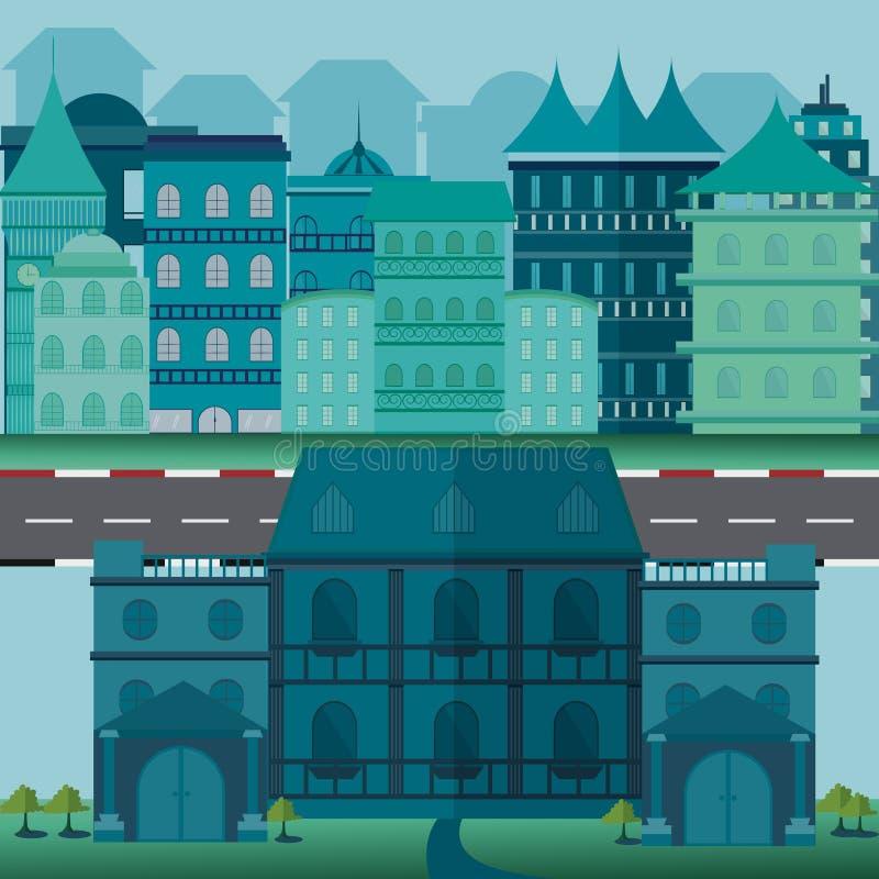 Городская иллюстрация вектора ландшафта и городской жизни иллюстрация вектора