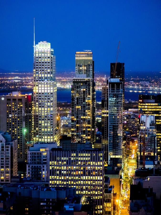 городская ноча montreal стоковое изображение rf